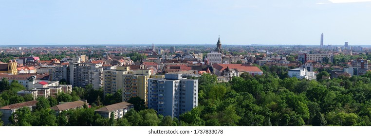 TIMISOARA, ROMANIA - 05.13.2020: cathedral landmark and skyline city bird eye view panorama
