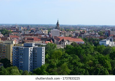 TIMISOARA, ROMANIA - 05.13.2020: cathedral landmark and skyline city bird eye view