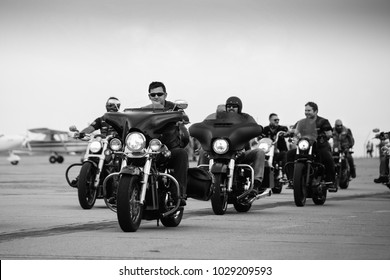 Timisoara, Romania - 06/10/2017 - Group of bikers gathering at Timisoara Airshow