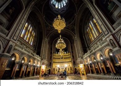 TIMISOARA, ROMANIA - JUNE 10: Faithfuls visit largest orthodox church in Romania on JUNE 10, 2014 in Timisoara, Romania. Timisoara is the 3rd largest city.