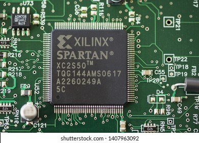 TIMISOARA, ROMANIA - MARCH 30, 2019: Close-up of a Xilinx Spartan microprocessor