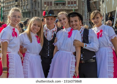 TIMISOARA, ROMANIA - SEPTEMBER 22, 2019: Group of young dancers in traditional Slovak folk costume present at the Festival of Ethnic Minorities, organized by the City Hall.