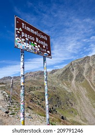 TIMMELSJOCH, AUSTRIA - AUGUST 28: Timmelsjoch Passo Rombo a high mountain pass between Austria and Italy on August 28, 2012 in Austria.