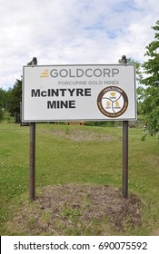 Timmins, Canada - July 10, 2017: Signpost of Goldcorp Porcupine Gold Mines.