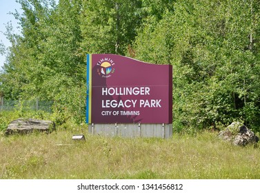 Timmins, Canada - July 20, 2018: Hollinger Legacy Park in city of Timmins.