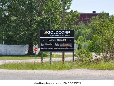 Timmins, Canada - July 20, 2018: Signboard of next schedule blast in Goldcorp Porcupine  Gold Mines in Hollinger Open Pit in Timmins.