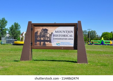 Timmins, Ontario, Canada - June 19, 2018:  Sign of Mountjoy Historical Conservation Area.