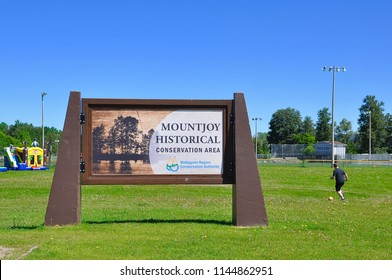 Timmins, Ontario, Canada - June 19, 2018:  Signage of Mountjoy Historical Conservation Area.