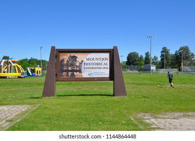 Timmins, Ontario, Canada - June 19, 2018:  Signboard of Mountjoy Historical Conservation Area.