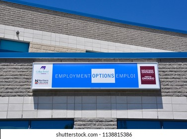 Timmins, Ontario, Canada - June 26, 2018: Sign of Employment Options in front of the building.