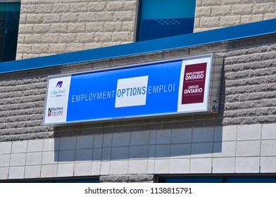 Timmins, Ontario, Canada - June 26, 2018: Signage of Employment Options in front of the building.
