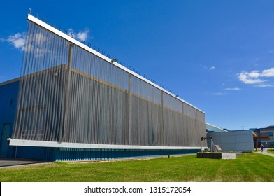 Timmins, Ontario, Canada -  June 29, 2018: Front of Timmins Museum National Exhibition Centre.