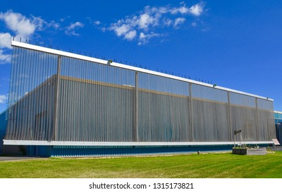 Timmins, Ontario, Canada -  June 29, 2018: Exterior of Timmins Museum National Exhibition Centre.