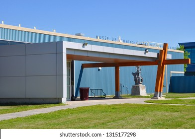 Timmins, Ontario, Canada -  June 29, 2018: Front  entrance of Timmins Museum National Exhibition Centre.