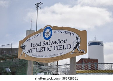 Timmins, Ontario, Canada - March 4, 2017: Sign of welcome to Fred Salvador athletic field in Timmins, Ontario.