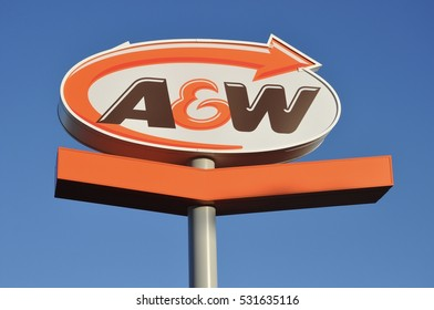 Timmins, Ontario, Canada -  November 14, 2016: A&W sign against the blue skies.