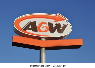 Timmins, Ontario, Canada -  November 14, 2016: A&W signage against the blue skies..