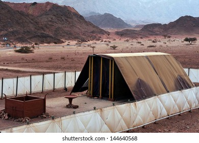 TIMNA, ISRAEL - OCT 15 2008:Model of the tabernacle.According to the Hebrew Bible, it was the portable dwelling place for the divine presence from the time of the Exodus from Egypt.
