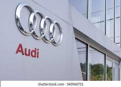 Timonium, MD - August 8, 2012: Audi Logo Sign Next to Door at Dealership