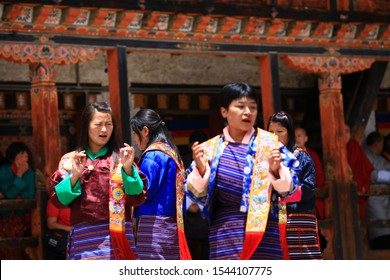 Timphu,Bhutan,Apr,9,2016,Bhutan dance(tibet dance),Close up Traditional dance and colors in Mongar, Bhutan ,masked dancers at a Buddhist religious ceremony,happy holiday