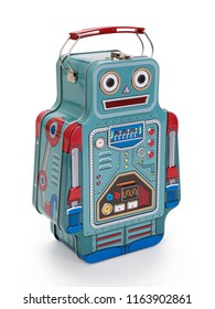 Tin box robot isolated on white background, contains clipping path