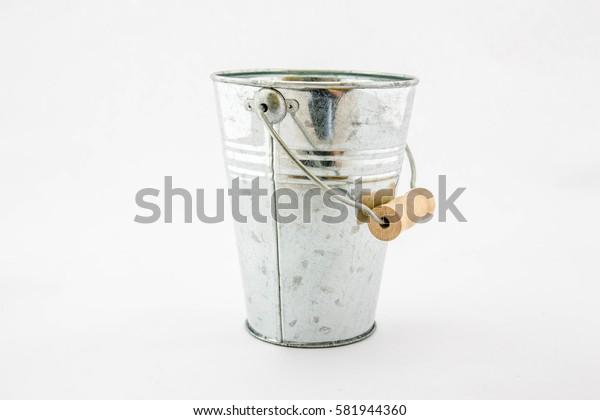 Tin bucket on white background,Vintage bucket