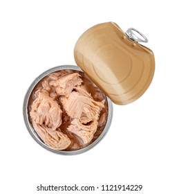 Tin can with conserved tuna on white background, top view