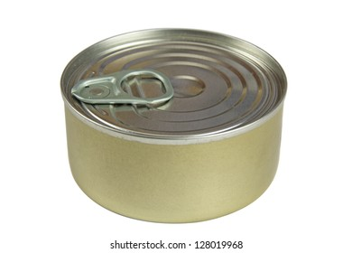 Tin can isolated on white background with clipping path
