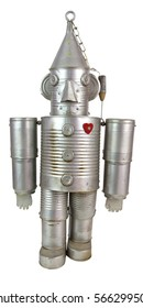 Tin can man made from recyclables. Isolated.