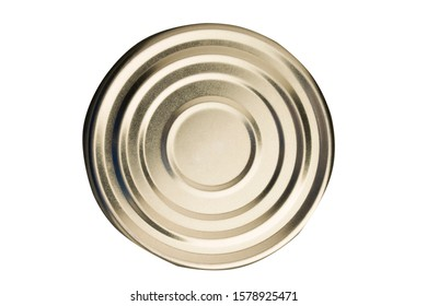 Tin can on white background. top view . Tin Circle shape on bottom of tin can