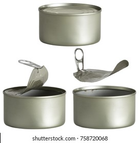 Tin Can, Opened and Closed Metal Tin Cans Isolated over White background