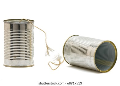 Tin can phone with broken string -  communication issue concept