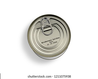 """Tin can with print """"best before 31.12.2020"""" in german language"""