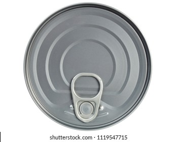 Tin can seen from above isolated on white background