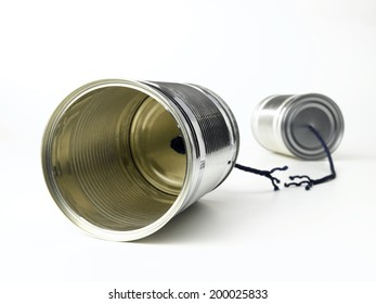 Tin can telephone with a broken phone line