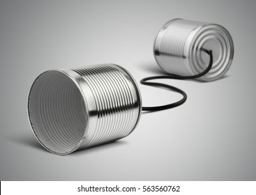 Tin can telephone with cord on grey, telephony concept
