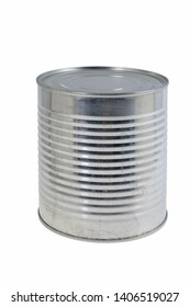 Tin canister on white background.