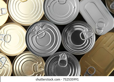 Tin cans as background