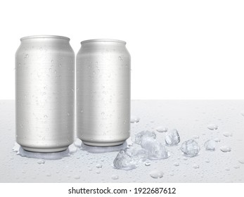 Tin cans and ice cubes on white background