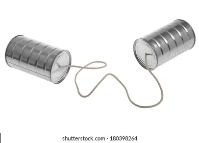 Tin cans and piece of rope for communication on white background