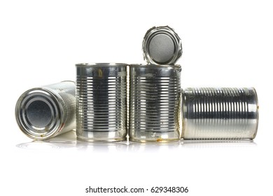 Tin cans ready for recycle isolated on white background