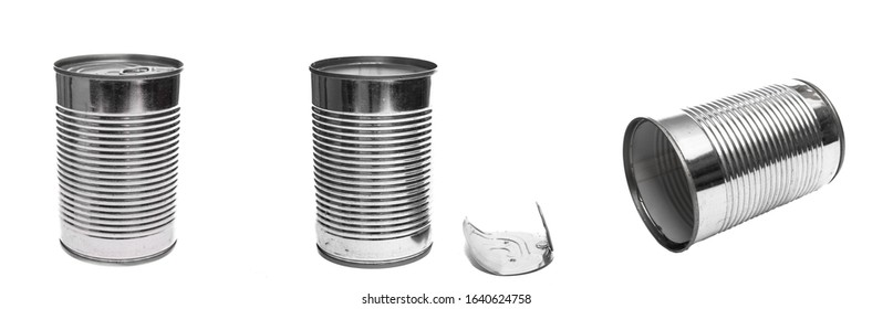 Tin cans of stainless steel white isolated