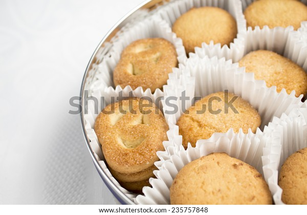 Tin Christmas Butter Cookies Stock Photo Edit Now 235757848