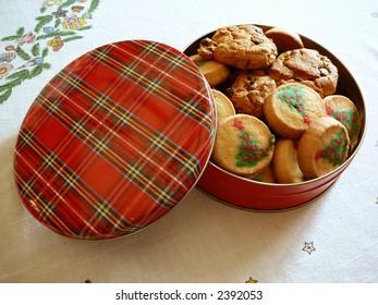 Tin of Christmas cookies