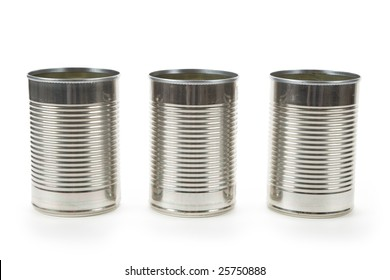Tin container with white background