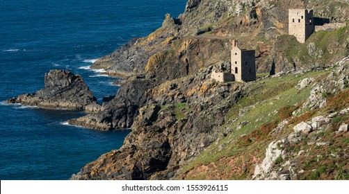 Tin and Copper mine at Botallack in Cornwall England. Film location for TV period drama Poldark. Botallack village lies between the town of St Just in Penwith and the village of Pendeen