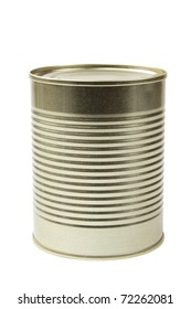 A tin food can isolated on white