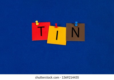 Tin – one of a complete periodic table series of element names - educational sign or design for teaching chemistry.