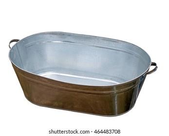 Tin Sheet Metal Bath Tub Isolated On White Background.