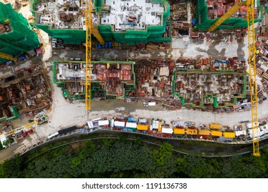 Tin Shui Wai, Hong Kong, 02 September 2018:-Top down view of Construction site in Hong Kong